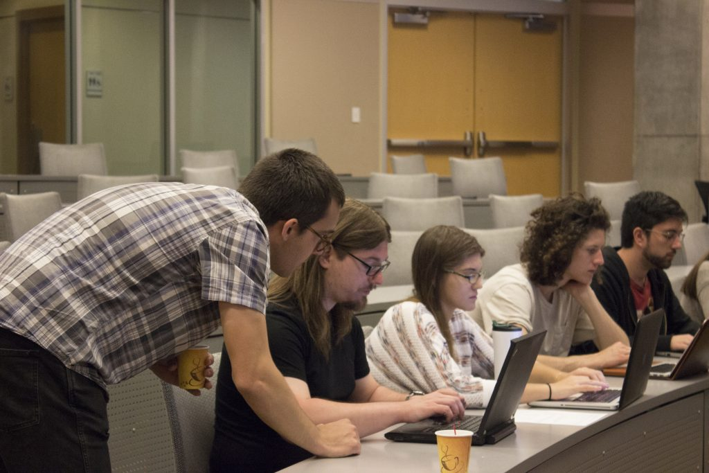 Matt Post assists students during Machine Translation Lab at the JHU Summer School on Human Language Technology